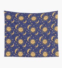 Vintage moon and sun stars celestial Wall Tapestry