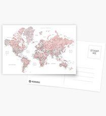 Gedämpfte rosa und Taupe detaillierte Weltkarte Postkarten