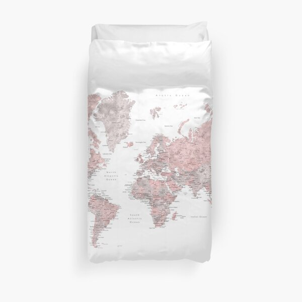 Muted pink and taupe detailed world map Duvet Cover