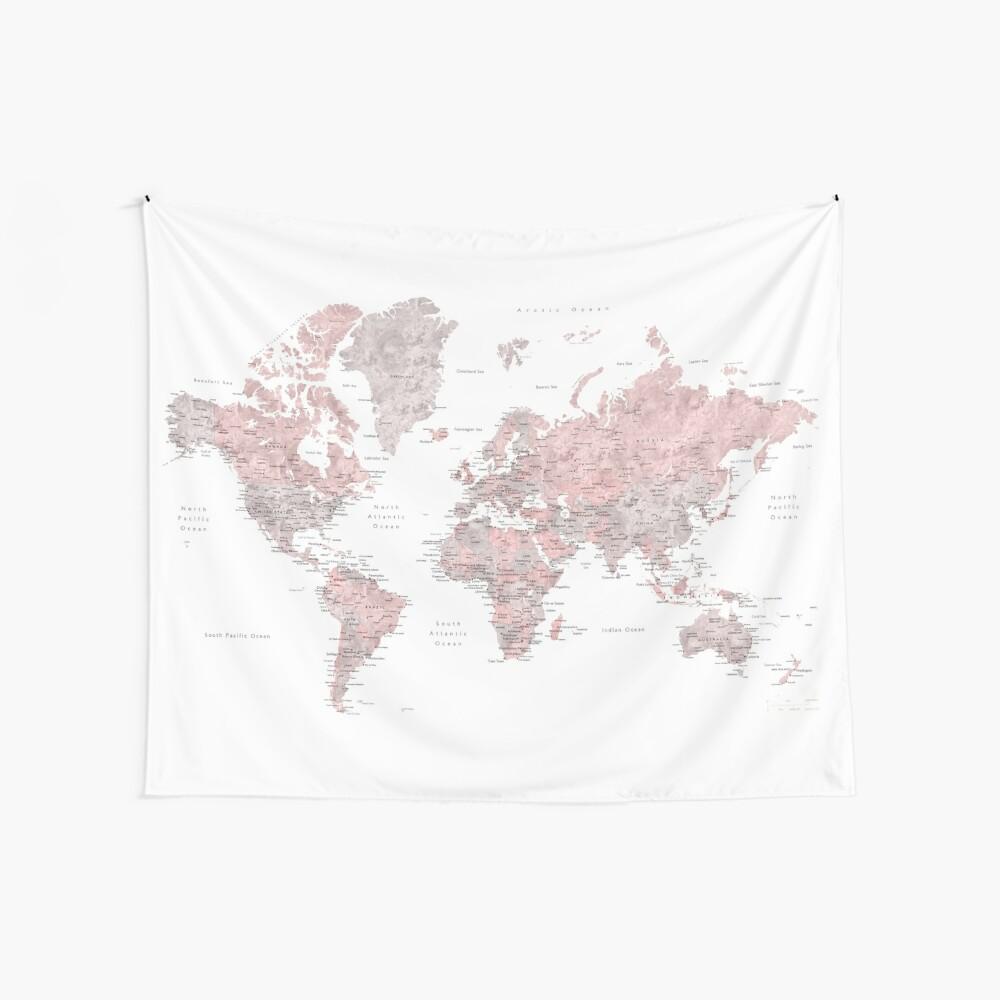 Gedämpfte rosa und Taupe detaillierte Weltkarte Wandbehang