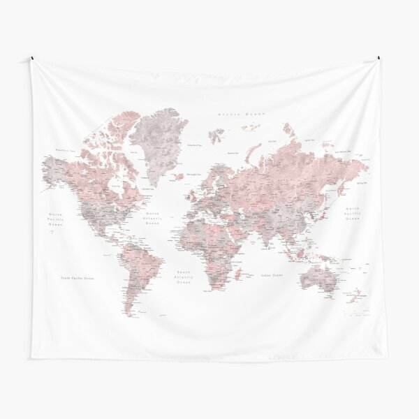 Muted pink and taupe detailed world map Tapestry