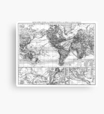 Black and White World Map (1895) Canvas Print