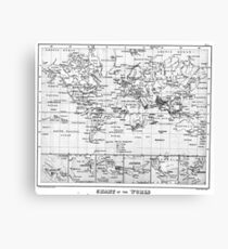Black and White World Map (1880) Canvas Print