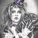 Amethyst Birthstone Art Broken Doll Carnival Doll Art Purple Art by Deanna Davoli