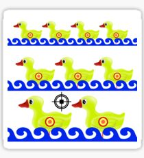 Yellow Duck Target on White Background. Duck in a Shooting Gallery Sticker