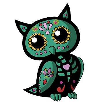 Day of the Dead Owl-Green by plaguewolfen