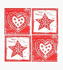 Scandinavian Red and White Stars and Hearts Photographic Print