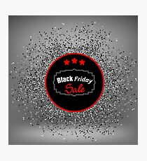 Black Friday Sticker and Confetti Isolated on Sost Grey Background Photographic Print