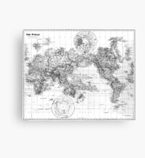 Black and White World Map (1901) 2 Canvas Print
