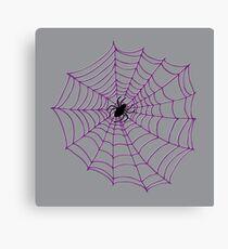 Spider web pattern - purple on white - by Cecca Designs Canvas Print