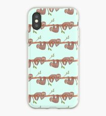 Baby Sloths hanging on Tree Pattern iPhone Case