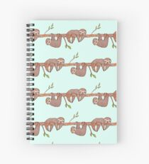 Baby Sloths hanging on Tree Pattern Spiral Notebook