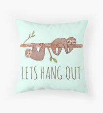 Lets Hang Out Sleepy Sloths Drawing Throw Pillow
