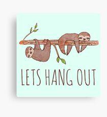 Lets Hang Out Sleepy Sloths Drawing Canvas Print