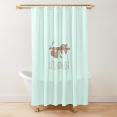 Lets Hang Out Sleepy Sloths Drawing Shower Curtain