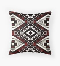 Vintage Chic Red Patched Throw Pillow