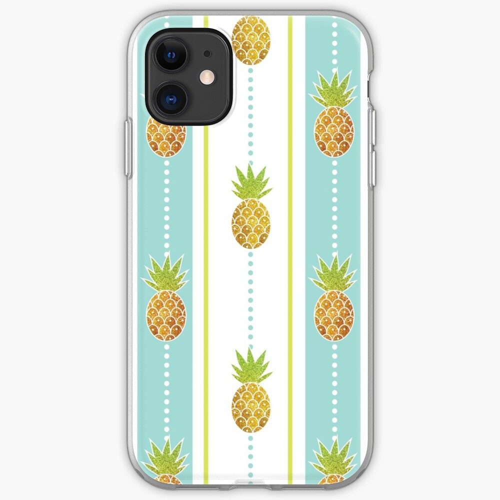 Glitter Tropical Pineapple with Stripes and Dots iPhone Soft Case