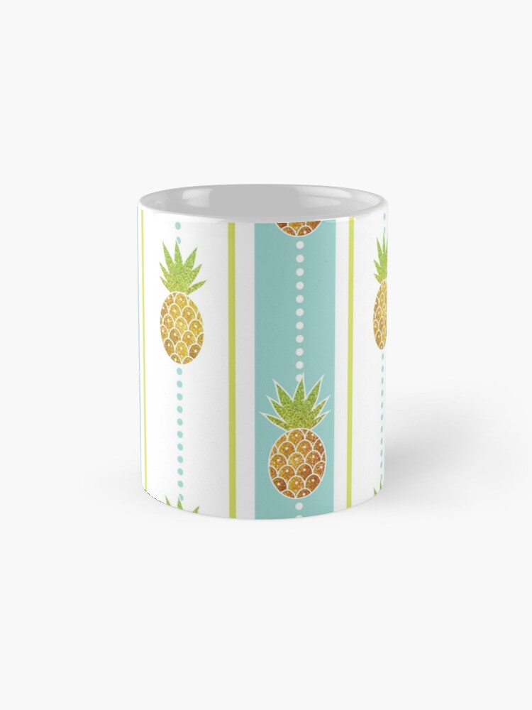 Alternate view of Glitter Tropical Pineapple with Stripes and Dots Mug