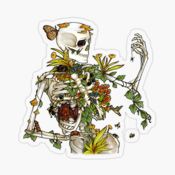 Bones and Botany Transparent Sticker