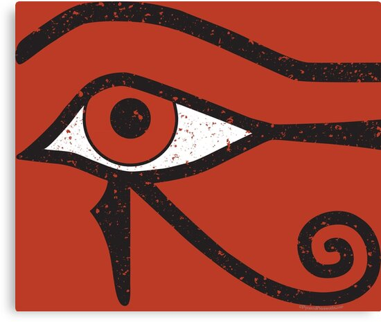Eye Of Horus Ancient Egyptian Symbol Of Protection On Red Canvas