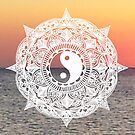 Sunset Yin Yang Mandala by julieerindesign