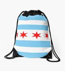 Chicago Flag Drawstring Bag