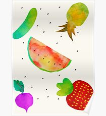Watercolor Fruits and Vegetables Poster