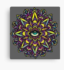 Dharma Wheel Neon Mandala Canvas Print