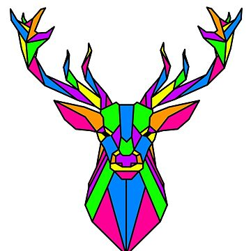 Coloured Geometric Stag by TheShirtShopUK
