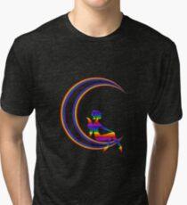 Rainbow Moon Butterfly Girl Fun Cute Shirt Tri-blend T-Shirt
