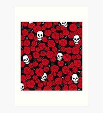Skulls and Roses Pattern Art Print