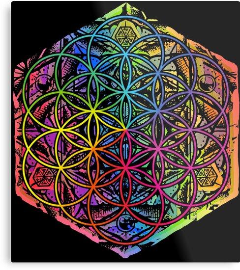 Lienzos Metálicos Flor De La Vida Mandala Color 1 De Roberto Jaras