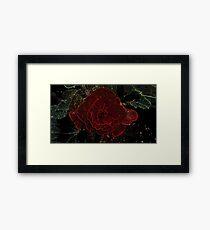 Neon Red Flower Framed Print
