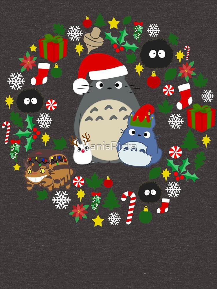 Weihnachten Totoro im Grün - Feiertag, Weihnachten, Geschenke, Pfefferminz, Zuckerstange, Mistelzweig, Schneeflocke, Poinsettia, Anime, Catbus, Ruß Sprite, Blau, Weiß, Manga, Hayao Miyazaki, Studio Ghibl von CanisPicta