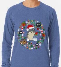 Weihnachten Totoro im Grün - Feiertag, Weihnachten, Geschenke, Pfefferminz, Zuckerstange, Mistelzweig, Schneeflocke, Poinsettia, Anime, Catbus, Ruß Sprite, Blau, Weiß, Manga, Hayao Miyazaki, Studio Ghibl Leichter Pullover
