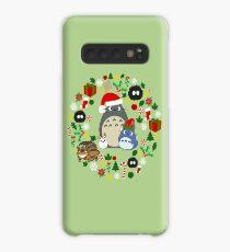 Weihnachten Totoro im Grün - Feiertag, Weihnachten, Geschenke, Pfefferminz, Zuckerstange, Mistelzweig, Schneeflocke, Poinsettia, Anime, Catbus, Ruß Sprite, Blau, Weiß, Manga, Hayao Miyazaki, Studio Ghibl Hülle & Klebefolie für Samsung Galaxy