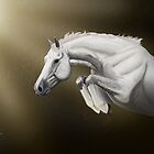 Jumping Grey Horse By RedwolfeGraphics by redwolfegraphic