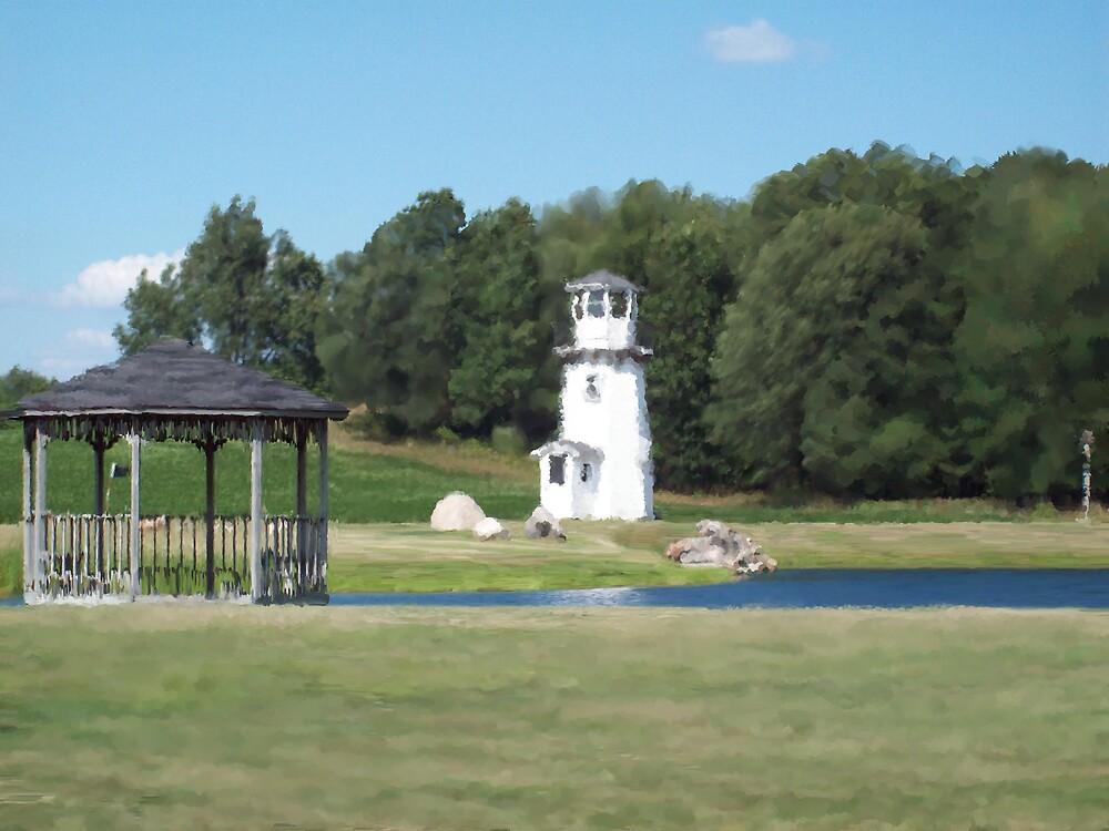 the lighthouse by the pond  by Michelle BarlondSmith