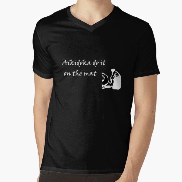 Aikidoka 01- White Graphic V-Neck T-Shirt