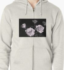 Lilac rose on black background Zipped Hoodie