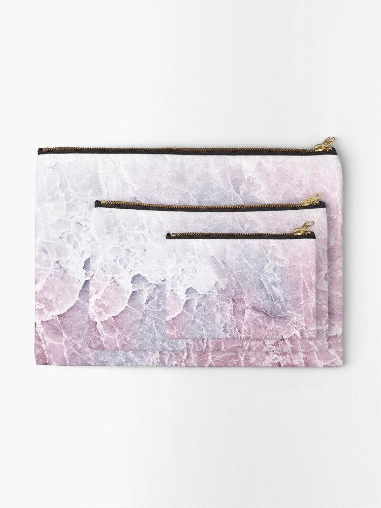 Alternate view of Sea Dream Marble - Rose and White Zipper Pouch