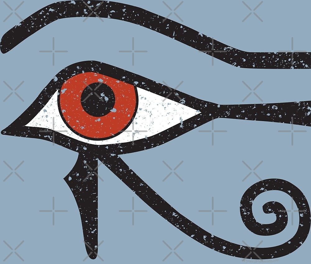 Eye of Horus Ancient Egyptian Symbol of Protection on Blue by PyramidPrintWrx
