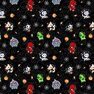 Halloween Chibi Winged Kitties - Black Background by Julia Lichty