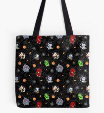 Halloween Chibi Winged Kitties - Black Background Tote Bag