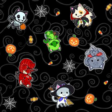 Halloween Chibi Winged Kitties - Black Background by ghostfire