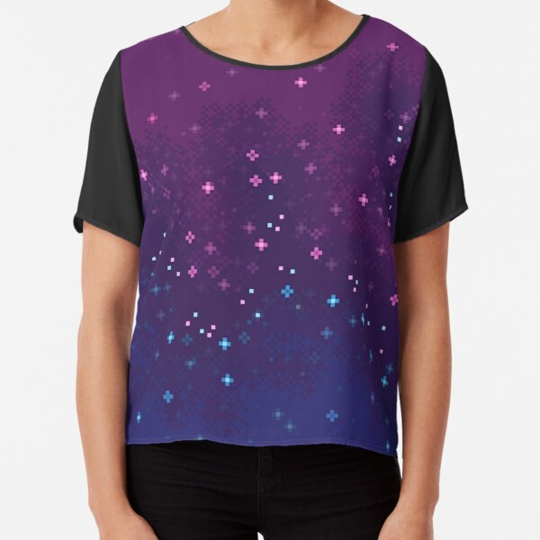 Colorblock Galaxy: pink, purple, blue Chiffon Top