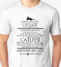 Mother Of Cats. Catleesi Funny Cat Lovers Gift for Women Unisex T-Shirt