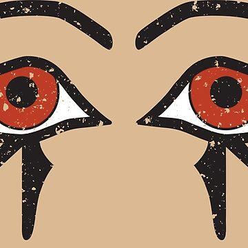 Double Eye of Horus Ancient Egyptian Symbol of Protection on Stone by PyramidPrintWrx