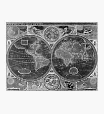 Black and White World Map (1626) Inverse Photographic Print