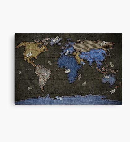 Jeans World Map Canvas Print